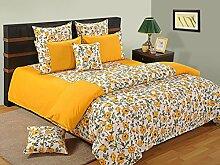 Yuga bedruckter Baumwolle Spannbetttücher Gummizug gelben Bettlaken mit 2 Kopfkissenbezug 72 X 75 X 10 Zoll