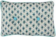 Yuga Blumendruck Baumwolle gefüllt Kantha Stich Weiß Back Seat Kissen Dekorative Kissen - Größe vorhanden