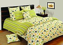 Yuga Dekor bedruckten Baumwoll dekorativen gelben und grünen Queen-Size-Bett Bettbezug Set 90 X 100 Zoll