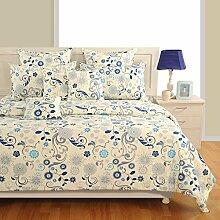 Yuga Printed Beige und Blau Cotton Spannbettlaken Bettlaken mit Gummizug 2 Kissenbezug 72 x 75 x 10 Inches