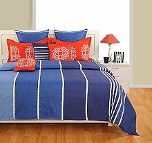 Yuga Printed Blau Cotton Spannbettlaken Bettlaken mit Gummizug 2 Kissenbezug 72 x 75 x 10 Inches
