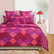 Yuga Printed Multicolour Cotton Spannbettlaken Bettlaken mit Gummizug 2 Kissenbezug 72 x 75 x 10 Inches
