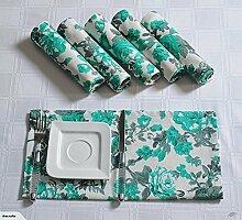 Yuga Printed Servietten Set aus 100% Baumwolle Tischwäsche Servietten Set mit 6 Stück 17 x 17 Inches
