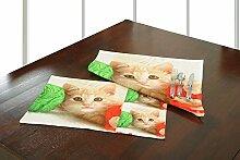 Yuga Schöne Leinwand Digital Katzen Gedruckt 100% Baumwolle Tisch Matte Packung von 6 Stück