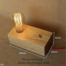 YUHONG@Weinlese-Tabellen-Lampen Edison Birne personifizierte hölzerne Tabellen-Licht-dimmable Schreibtisch-Lampe Wechselstrom, Luminaria Lamparas Abajur De Mesa