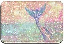 yui7 Glitter Pink Meerjungfrau Fussmatte Innen