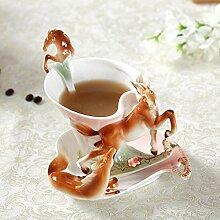 YUIDAJ Neuankömmling Pferd Emaille Kaffeetasse