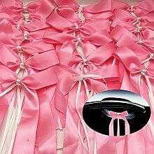 Yulakes 50pcs rosa Autoschleifen aus Satin Hochzeit Antennenschleifen Dekoration für Hochzeit,Hochzeit Deko,DIY Dekoratives Bowknotband,Autoschmuck Autoschleifen