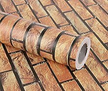 Yulan Brick selbstklebend Haarverdichtung Wasserdicht Tapete für Wohnzimmer, Schlafzimmer, Shop (0,45* 10Mio.), PVC, braun, 0.45m(Width)*10m(Length)