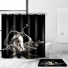 YULIAN Duschvorhang und Badematte Anzug 3D