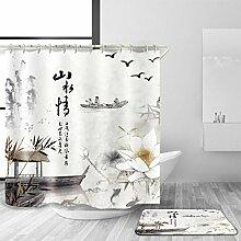 YULIAN Duschvorhang und Badematte Anzug Mehrfarbig