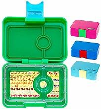 Yumbox XS Mini Snackbox (Ami Green) - Kleine Kinder Bentobox, 3 Fächer - Brotdose mit Unterteilung für Krippe, Kita oder kleinen Snack Unterwegs
