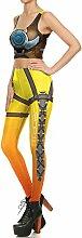 Yumeik Frauen Leggings 3D Gedruckt Gelbe Roboter
