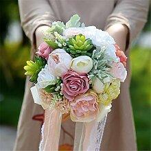 Yunhigh künstliche Hochzeit Blumen Ribbon Hand Bouquet Brautsträuße Seide Blumen Hochzeit Bouquet Dekoration