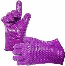 Yunhigh Silikonofen Handschuhe bbq hitzebeständige Hand Handschuhe wasserdichte Grill Handschuhe Kochen Backen Küche Schutzhandschuhe 5 Finger - lila