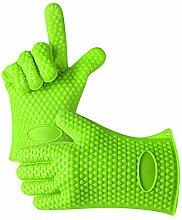 Yunhigh Silikonofen Handschuhe bbq hitzebeständige Hand Handschuhe wasserdichte Grill Handschuhe Kochen Backen Küche Schutzhandschuhe 5 Finger - grün
