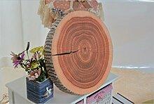 YunNasi Kreativ Köstlich Früchte Natur Holz Design Runde Plüsch Zierkissen 5 cm H x 40 cm B x 40 cm T (Baumstamm)