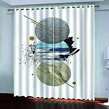 YUNSW 2 Einfache Perforierte Graffiti-Vorhänge,