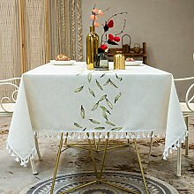 YUNSW Baumwolle Und Leinen Tischdecke Blätter