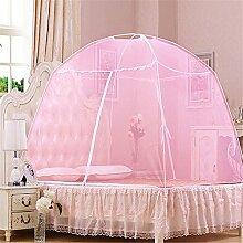 Yurts doppelte offene Tür Reißverschluss dinette Hause mit Moskitonetzen ( Farbe : Pink , größe : 1.8 m (6 feet) )