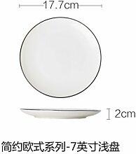 YUWANW Inländische Keramikplatte Runde Platte