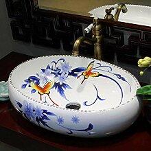 Yuye Blau und Weiß Bad Keramik Waschbecken