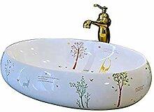 Yuye Europäische Oval Bad Aufsatzwaschbecken