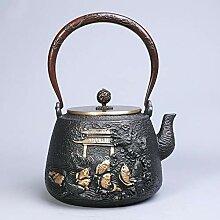 Yuyue Longmen Gusseisen-Teekanne, vergoldet, für