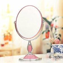 YVAU Spiegel Schreibtisch-Spiegel, europäischer Spiegel-doppelseitiger Dressing-Spiegel, beweglicher Prinzessin-Spiegel, 3x hochauflösende Vergrößerungsglas, 6 Zoll ( Farbe : Pink )
