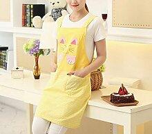 YWWHLM Baumwolle Cute Schürze Erwachsene Arbeit Kleidung Küche Kochen Grill. Gelb