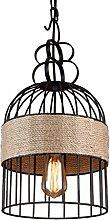 Ywyun Industriehanfseil Retro-Stil Schmiedeeisen Vogelkäfig Kronleuchter, Dachböden amerikanisches Land Decke, Bartheke Cafe-Shop dekorative Beleuchtung