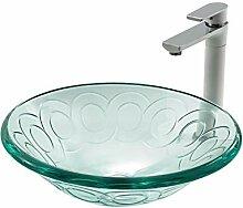 YXDOO Badezimmer Vessel Sink Gehärtetes