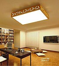 yxhflo Einfache Holz- Lampe leuchtet rechteckige Haupt Schlafzimmer Wohnzimmer leichten japanischen Lampen Nordic Massivholz led Deckenleuchte Lampes de Plafond,65 * 45 Cm weißes Lich