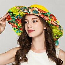 YXINY Sonnenhüte Damen Frühling und Sommer Koreanische Version Mode Sonnenschutz Strandhut Zusammenklappbar Bowknot Strohhut Damen Accessoires Hüte & Mützen (Farbe : Gelb)