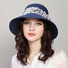 YXINY Sonnenhüte Damen Mode Freizeit Strohhut Urlaub Hut Sonnenschutz Wide Brim Caps Damen Accessoires Hüte & Mützen (Farbe : Dunkelblau)