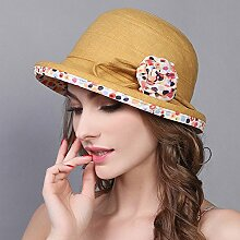 YXINY Sonnenhüte Draussen Fischerhut Visier Beiläufig Sonnenschutz Sonnenhut Damen Accessoires Hüte & Mützen (Farbe : Gelb)