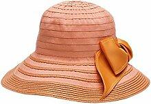 YXINY Sonnenhüte LY-57 Sonnenschutz Sommermütze Visier Hut Die Sonne Hüte Strohhut Strandmütze Fischerhut Mode Atmungsaktiv Damen Accessoires Hüte & Mützen (Farbe : Orange)