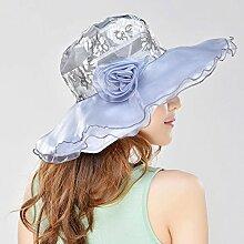 YXINY Sonnenhüte Sommer Frau Sonnenhut UV-Schutz Visier Sonnenschutz Strandmütze Reisen Damen Accessoires Hüte & Mützen (Farbe : Hellgrau)
