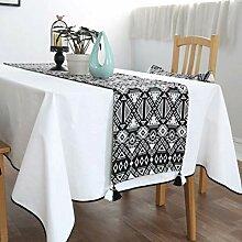 YXN Tuch-Tischläufer, schwarz und weiß mit