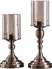 YXSHHHL Retro Glas Metall Kerzenständer