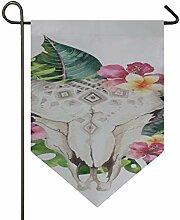 YXUAOQ Flaggendekorationen Stierkopf mit Blumen