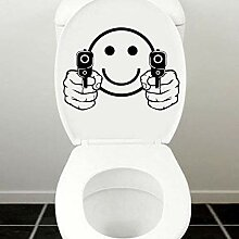 YXWYL Smiley Face Guns Vinyl Aufkleber Glas Bad WC