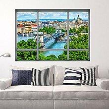 YXWYLL 85x70cm, 3D Gefälschte Fenster Die Danube