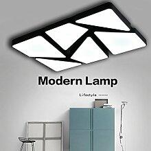 YXZN Deckenleuchte Wohnzimmer Lampe Rechteckige Atmosphäre Lampe Schmiedeeiserne LED Deckenleuchte Schlafzimmer Einfache Moderne Kreative Lampe,Steplessdimming(Black) 90*60Cm
