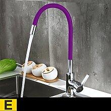 YYF Küche heißes und kaltes Wasser Wasserhahn Kupfer Wasserhahn Waschbecken Waschbecken Wasserhahn Universal Wasserhahn (Farbe : E)