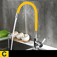 YYF Küche heißes und kaltes Wasser Wasserhahn Kupfer Wasserhahn Waschbecken Waschbecken Wasserhahn Universal Wasserhahn (Farbe : C)