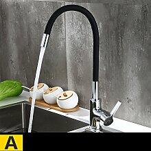 YYF Küche heißes und kaltes Wasser Wasserhahn Kupfer Wasserhahn Waschbecken Waschbecken Wasserhahn Universal Wasserhahn (Farbe : A)