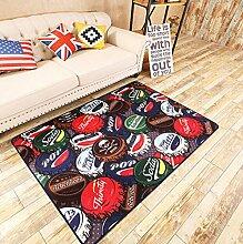 YYF Teppich Flasche Cap House Teppichboden Teppiche Anti-Rutsch Schlafzimmer / Wohnzimmer Teppich Baby Crawling Matten Schwarz Spielmatte (Größe: 120 x 170CM)