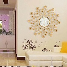 YYF Wanduhr Wohnzimmer mit modernen Kreative Gold Wanduhr Eisen Restaurant Schlafzimmer mit Quiet Quarzuhr verziert ( Farbe : B )