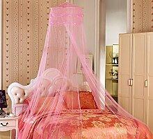 YYGIFT reg; Rundes Netz Himmelbett Vorhang Mückenschutz Moskitonetz Vollständig Hängendes Set Fliegennetz Bett Insektenschutz Doppelbett Einzelbett Indoor Outdoor (Rosa)